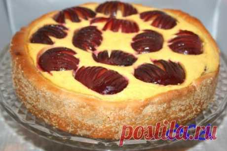 Сливовый пирог с творогом : Выпечка сладкая