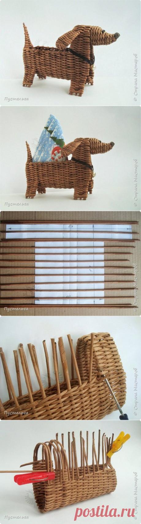 Корзинка-собачка для новогоднего стола