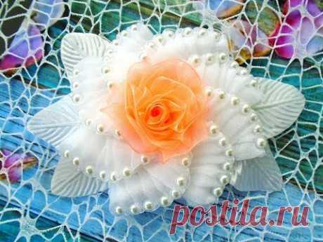 (111) Flor de organzy con las cuentas de vidrio, la Parte 2, MK Kanzashi\/Organza flower with beads, Part 2, MK Kanzashi - YouTube