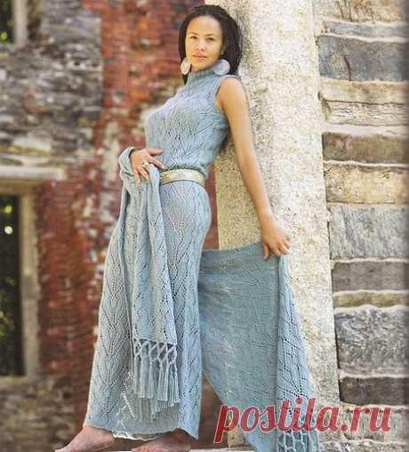 Элегантное платье спицами схема. Женская стола спицами |