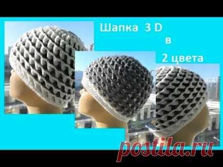 Шапочка 3D в 2 цвета ,crochet hat ( Шапка № 98)