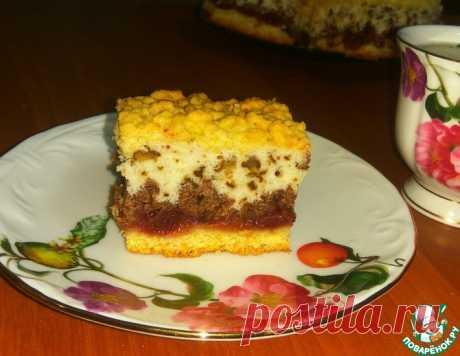 Пляцок с вишневым и ореховым слоем – кулинарный рецепт