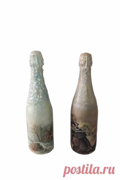 Новогоднее шампанское Художественный декупаж, глиттер, cвечной воск, многослойное лаковое покрытие
