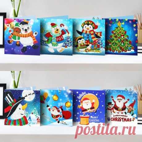 """Милейшие новогодние открыточки Отличная идея подарка для поклонницы рукоделия, или для совместного творчества с детьми или для подарка """"я сделала это сама!"""" Набор для создания открытки в технике алмазная живопись 8 вариантов открыток Показать полностью…"""