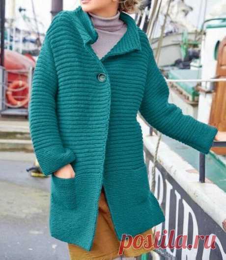 Пальто с карманами простейшим узором от размера S до XL (описание)   Идеи рукоделия   Яндекс Дзен
