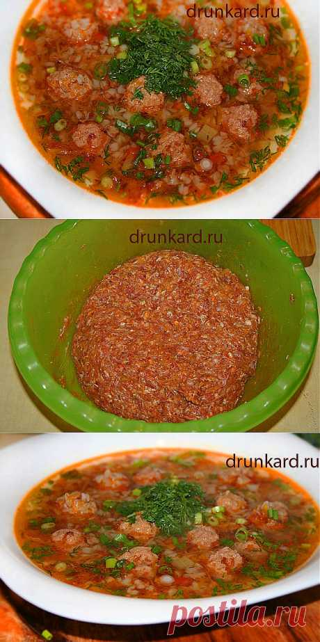 Гречневый суп с фрикадельками.