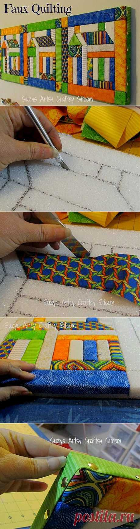 Поделки своими руками - Картина из ткани на пенопласте