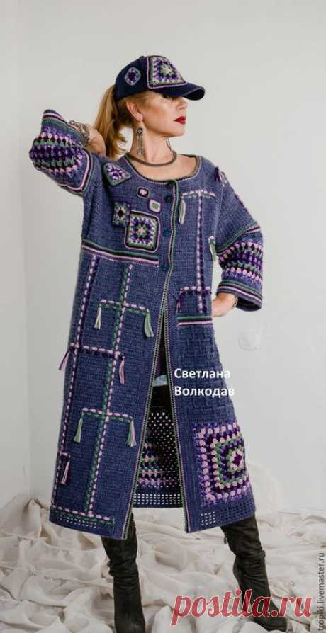 """To buy the Coat knitted author's """"Звездное небо"""" - dark blue, jeans, coat female"""