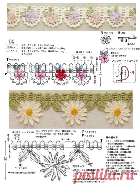 Подборка узоров – Интересная кайма с цветочками (Вязание крючком) – Журнал Вдохновение Рукодельницы