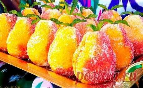 Пирожные груши — необычный десерт из доступных продуктов! Все знают пирожные «персики» — ну так вот, это что-то похожее, только в форме груш и немного отличается рецепт. Десерт просто здоровский!