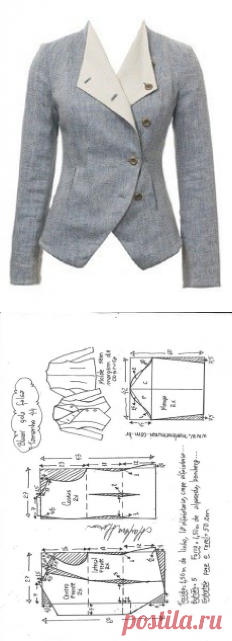 Blazer gola falsa | DIY - molde, corte e costura - Marlene Mukai