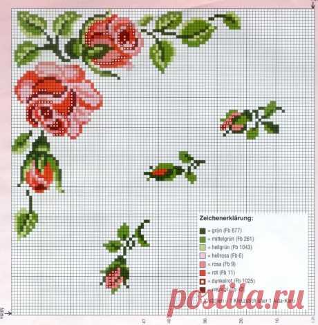 Цветочные узоры для вышивки углов скатерти