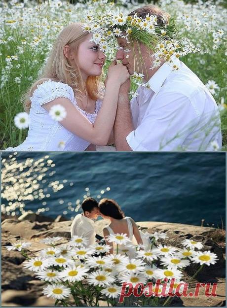 ЛЮБОВЬ - ....ТЫ РОМАШКА МОЯ... Ах ромашка ты самая нежная Лепестки у тебя белоснежные А внутри у тебя светит солнышко На ветру ты стоишь качаешься И своей простоты не смущаешься Ты как девушка самая скромная Неприметная невесомая...