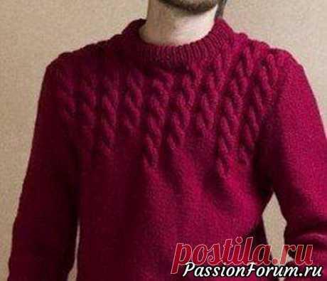 Мужской свитер с узорами из кос спицами. Описание.