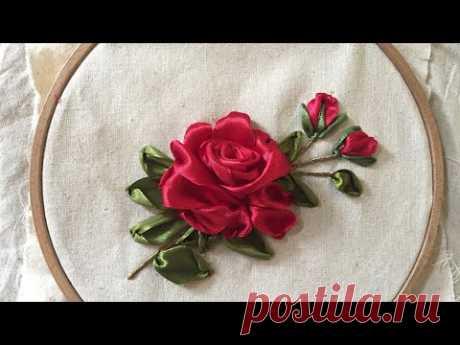D.I.Y Ribbon Embroidery Red Rosa/ Hướng dẫn thêu hoa hồng nhung