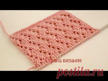 Узоры спицами. Ажурный узор. Knitting patterns. Lace pattern.
