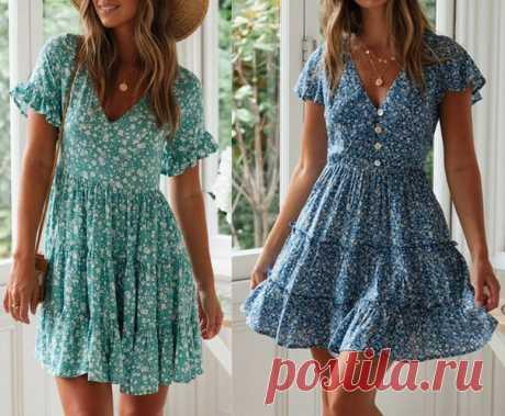 Платье с V-образной горловиной. #Схемы_выкроек на размеры с 36 по 56 в файле PDF Источник: https://www.marlenemukai.com.br/vestido-3-babados-dec..