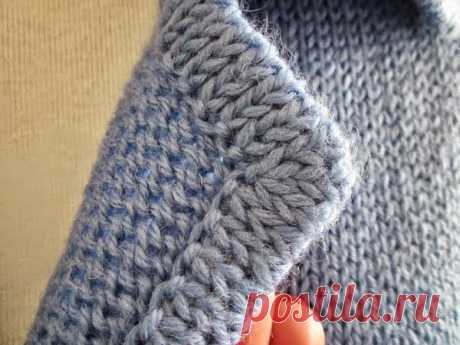 Knitting models with schemes and descriptions: Processing by the edging of a collar, lapels and pockets in knitted products