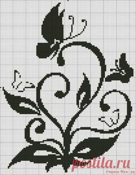 Монохромные схемы для вышивки крестом или вязания жаккарда — Сделай сам, идеи для творчества - DIY Ideas