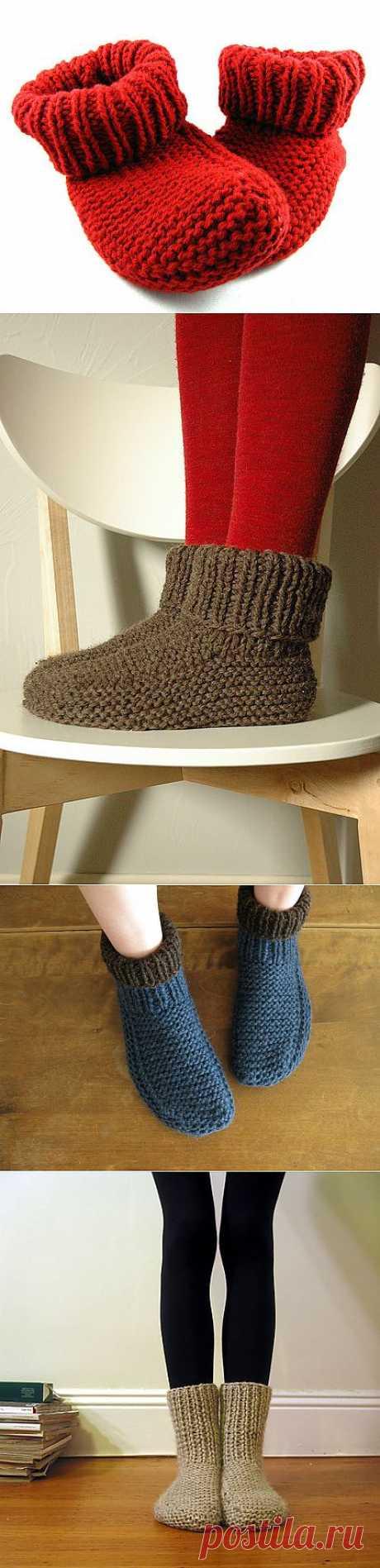 Простые носочки спицами.