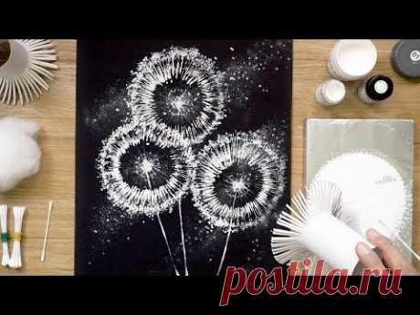 Рулоны туалетной бумаги Одуванчик Ватные тампоны Техника рисования, Easy Creative Art