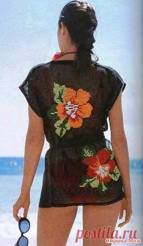 Вышивка на пляжной тунике - сетке - Вязание - Страна Мам