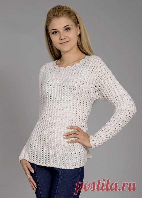 Нежный , женственный пуловер спицами