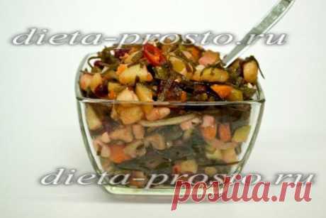 Овощной салат с морской капустой и фасолью, диеты Дюкана
