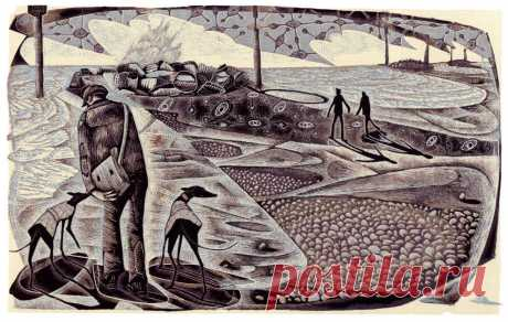 On Eccles Beach - a wood engraving by Neil Bousfield – St. Jude's Prints