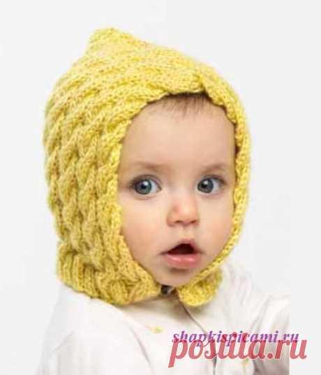 Вязаная шапочка для малыша - на пуговице и с задним швом (вязание спицами). Вяжется несложно.