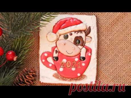 ПЕРЕНОС РИСУНКА на ПРЯНИК🎉 ПРЯНИЧНАЯ ОТКРЫТКА🎉 Gingerbread cookie decoration