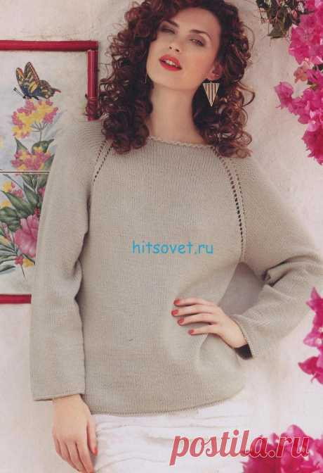 Нежный женский пуловер, спицами