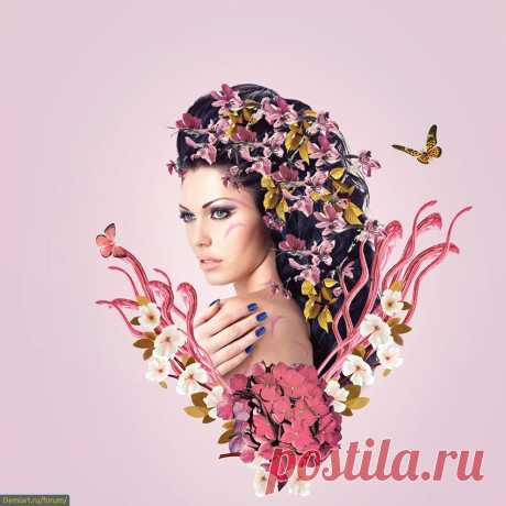 Создаем коллаж цветочного портрета -> Demiart Photoshop
