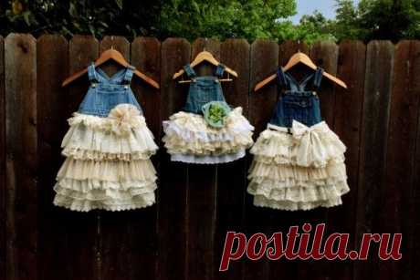 denim vintage linen and lace flower girl country wedding easter shabby chic…