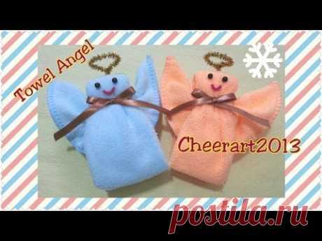 Diy fun craft: Towel fold tutorial - towel angel : 毛巾天使 - YouTube