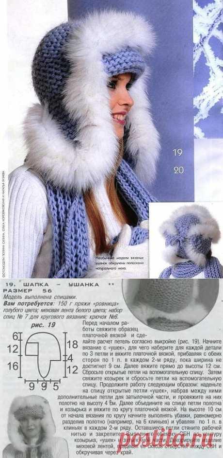 Вязание с мехом спицами. Шапка - ушанка, отделанная мехом. + описание | razpetelka.ru