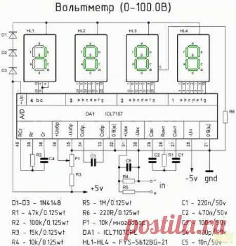 РадиоКот :: Амперметр и вольтметр на ICL7107CPL (КР572ПВ2) для лабораторного блока питания.