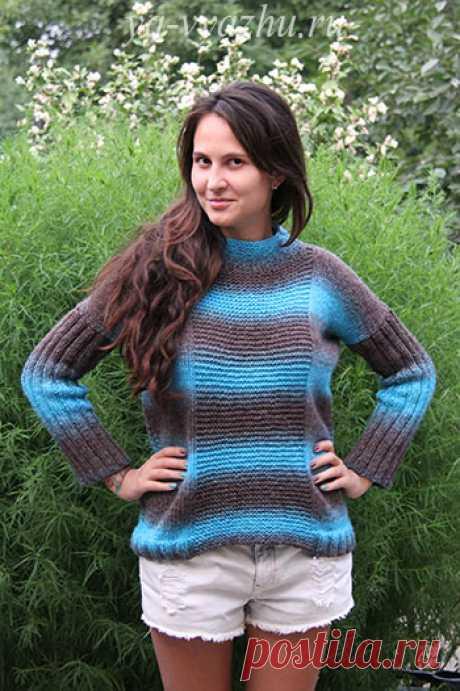 Креативный женский пуловер спицами для начинающих | Вязальное настроение...