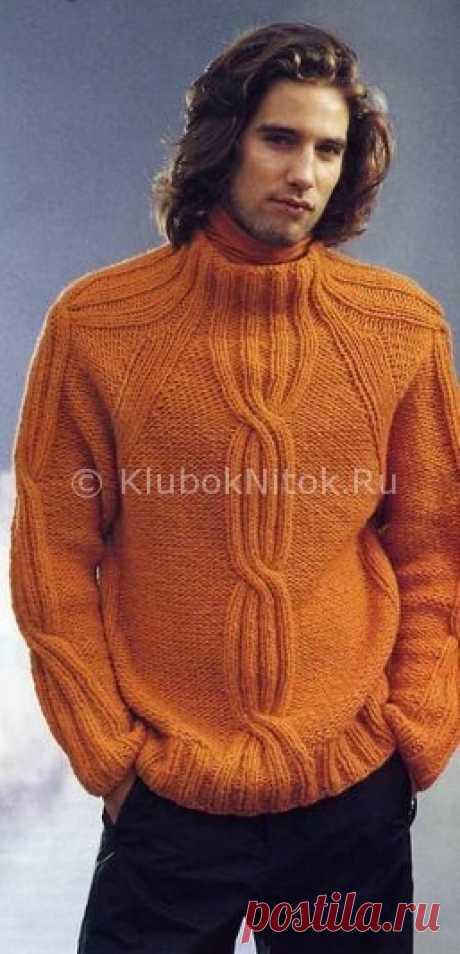 Оранжевый пуловер с косами | Вязание мужское | Вязание спицами и крючком. Схемы вязания.