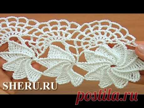 Crochet Spider Web Lace Tutorial 23 part of 1 of 2 Tape lace with a spider line