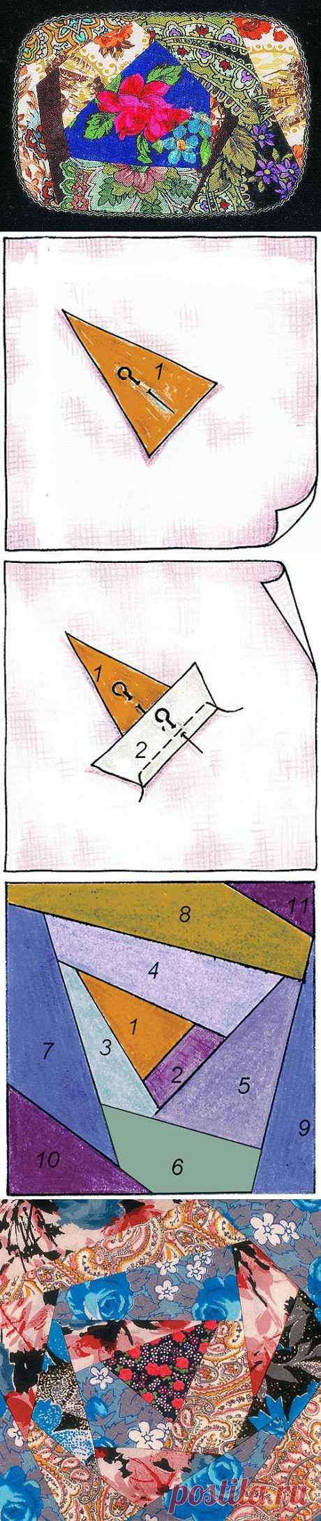 Лоскутное шитьё в свободном стиле крейзи .