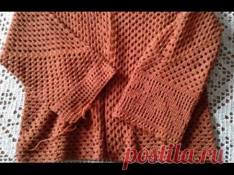 Kardigan de los hexágonos. La parte 3. Unimos dos detalles, las mangas. Knitting women's cardigan.