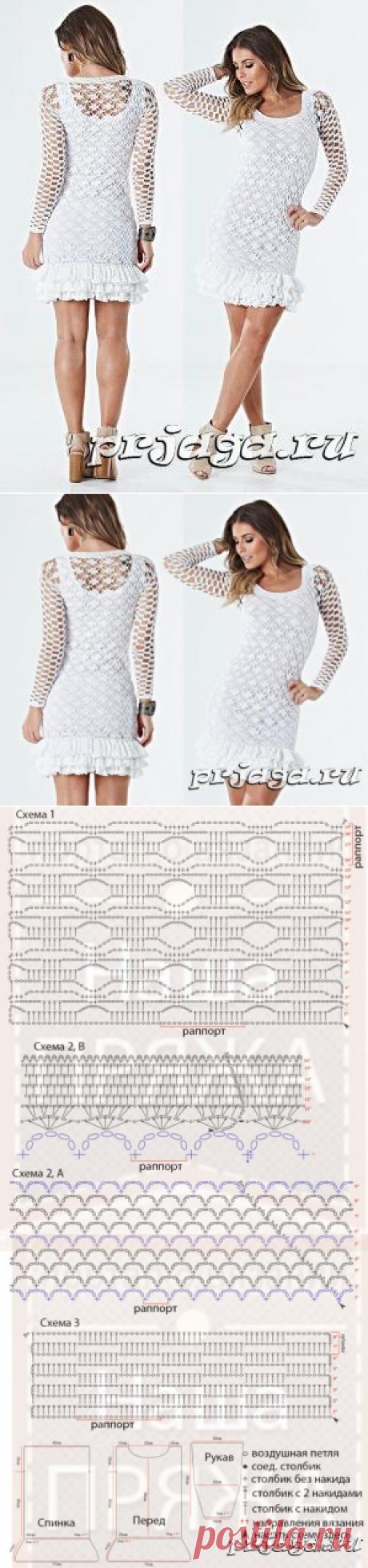 Платье с рюшами крючком