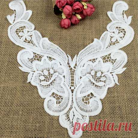 кружева покрывало Picture - More Detailed Picture about 1pcs White Embroidered Cotton Lace Neckline Collar Applique Motif Patches Scrapbooking Embossed Sewing Fabric Accessories Picture in Lace from MICHAEL ANDERSON | Aliexpress.com | Alibaba Group