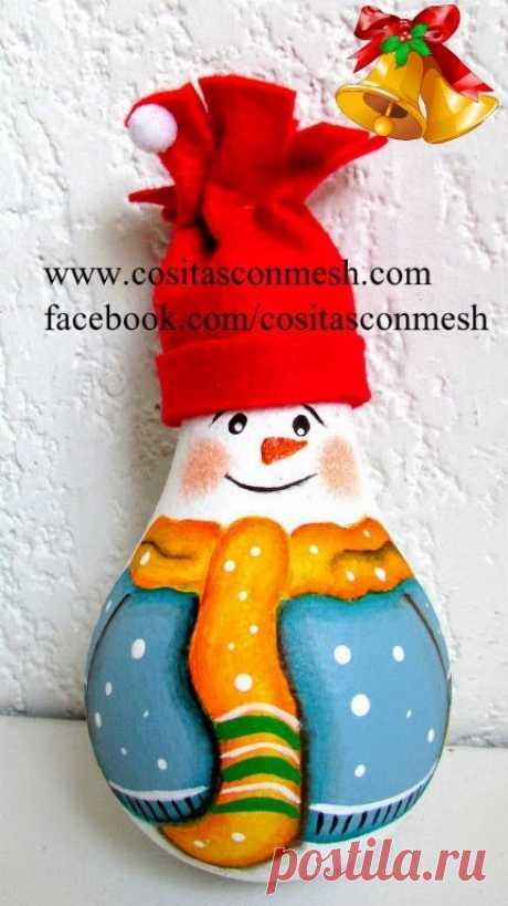 Snowman from a bulb. Master class.
