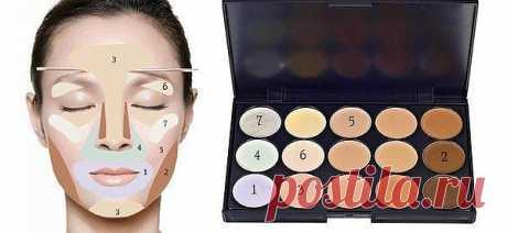 Применяя разные цвета можно скрыть различные дефекты кожи.
