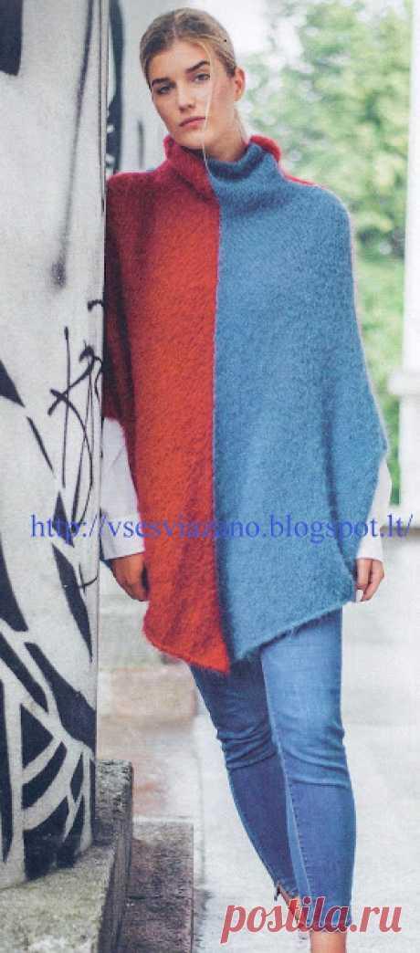 ВСЕ СВЯЗАНО. ROSOMAHA.: Уютный свитер- пончо-шаль с воротом.