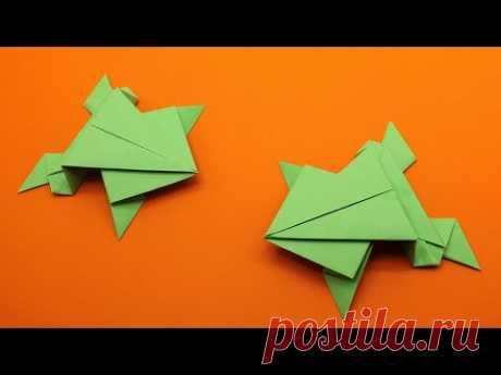 🐸 СУПЕР 🐸 ПРЫГАЮЩАЯ ЛЯГУШКА ИЗ БУМАГИ 🐸 БЕЗ КЛЕЯ /  Как сделать лягушку оригами, которая прыгает