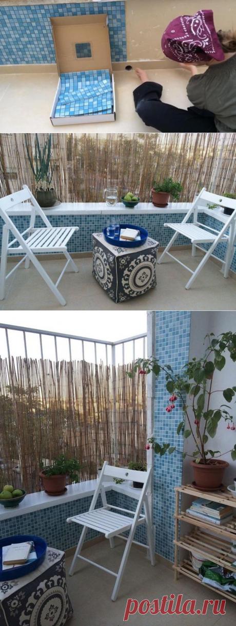 Женщина, не знавшая, как работать с мозаичной плиткой, решила сэкономить и самостоятельно украсить ею стены балкона. Что получилось: фото