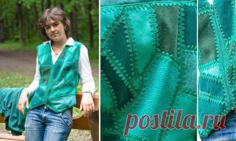 Лоскут и крючок. Зеленый жилет - вязание, вязание крючком, лоскутное вязание, жилет